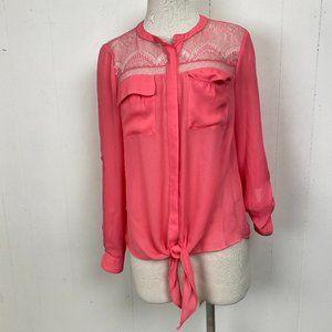 NWT Candie's Sugar Coral Lace Tie Waist Blouse L